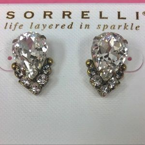 Sorrelli Ant.Gold Large Pear Crystal Post Earring